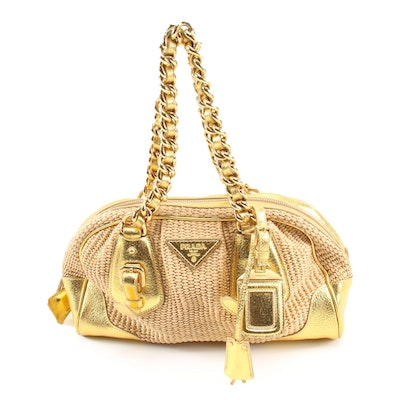 Prada Boston Bag in Woven Straw and Metallic Gold Leather