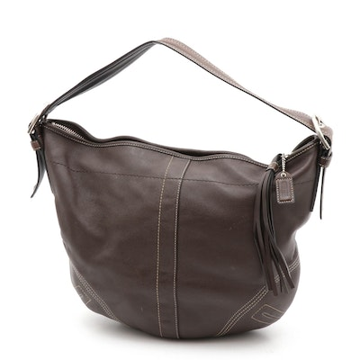 Coach Soho Brown Leather Hobo Shoulder Bag with Contrast Stitching