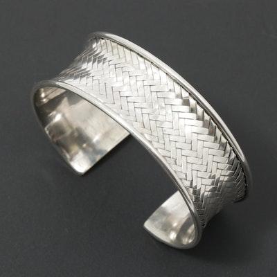 Sterling Silver Basketweave Cuff Bracelet