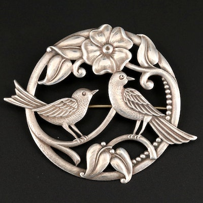 Vintage Sterling Silver Repouseé Lovebirds Brooch