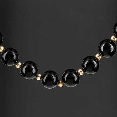 Black Onyx and 10K Bead Endless Necklace