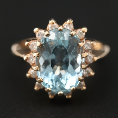 14K Yellow Gold 5.14 CT Aquamarine and Diamond Ring