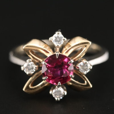 14K White Gold 1.05 CT Ruby and Diamond Ring with Yellow Gold Accents