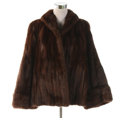 Dyed Squirrel Fur Jacket with Shawl Collar From Capwell's of California, Vintage