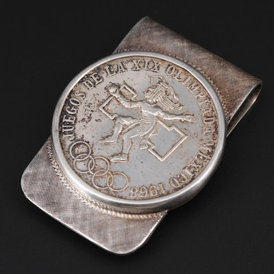 Sterling Silver Money Clip With 1968 Mexican Summer Olympics Coin Accent
