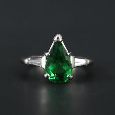 Platinum 3.47 CT Tsavorite and Diamond Ring