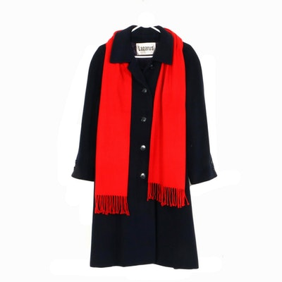 Regency Cashmere Button-Front Coat with Red Cashmere Fringed Scarf, Vintage