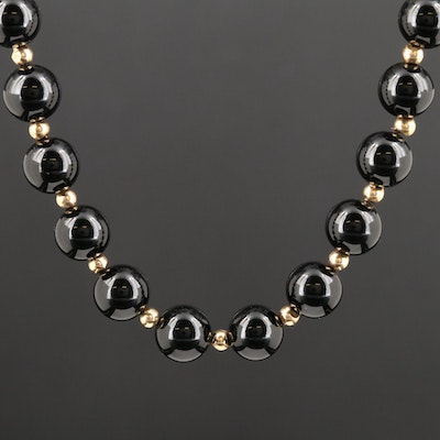 10K Yellow Gold Black Onyx Endless Necklace
