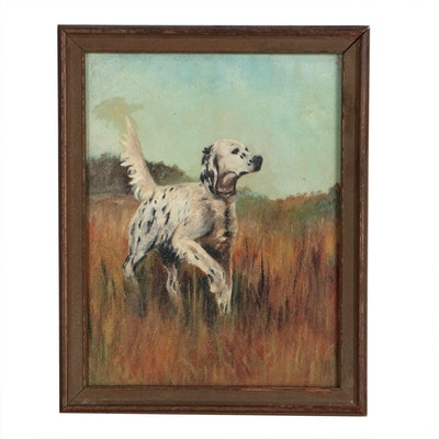 English Setter Hunting Genre Oil Painting, Circa 1940