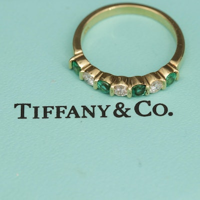 Vintage Tiffany & Co. 18K Yellow Gold Diamond and Emerald