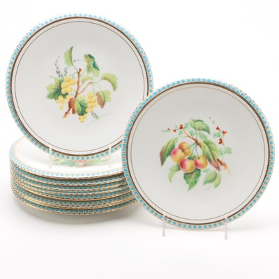 Blue and White Ceramic Luncheon Plates with Fruit Motif, Vintage
