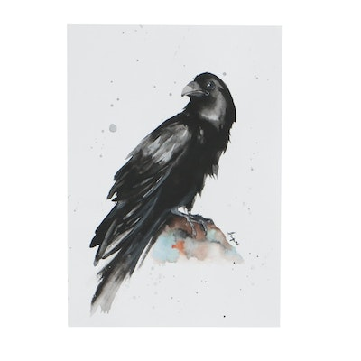 Anne Gorywine Watercolor Portrait of Crow