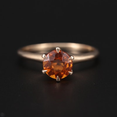 14K Yellow Gold Citrine Solitaire Ring