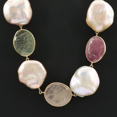 18K Yellow Gold Cultured Pearl and Corundum Necklace