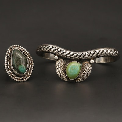 Southwestern Sterling Silver Turquoise Cuff Bracelet and Ring