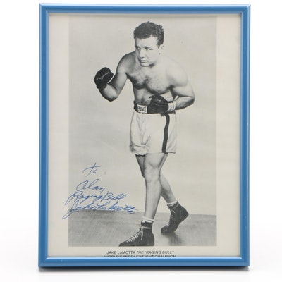 "Jake LaMotta Signed ""Raging Bull"" Middleweight Champion Boxing Photo Print"