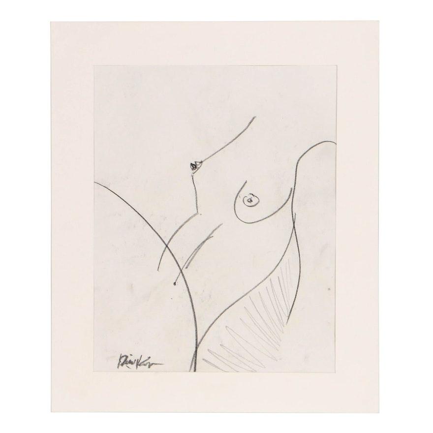 "Robbie Kemper Graphite Drawing ""Nude 204"""