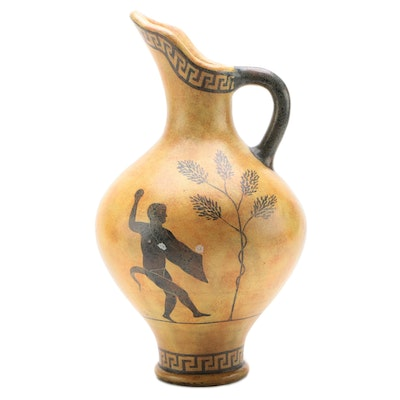 Maitland-Smith Hand-Painted Ewer with Greek Motif, Late 20th Century