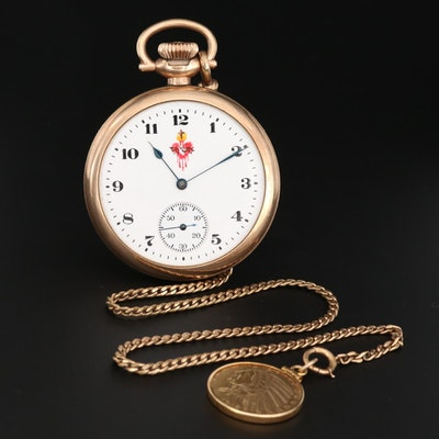 Elgin Gold Filled Open Face Pocket Watch with Sacred Heart and 14K Chain