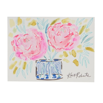 "Kait Roberts Mixed Media Painting ""Pleasant Peonies"""