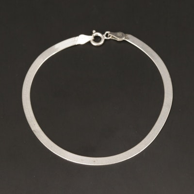 Sterling Silver Herringbone Chain Bracelet