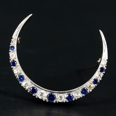 Vintage 14K White Gold Diamond and Sapphire Crescent Moon Brooch