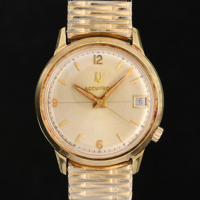 Vintage Bulova Accutron Gold Filled and Rolled Gold Plate With Date, 1974