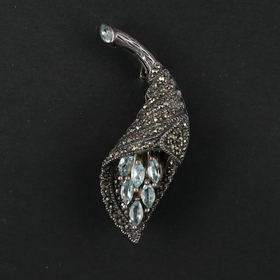 Sterling Silver Topaz and Marcasite Articulating Brooch