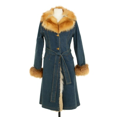 Denim Duster Jacket with Tie Belt and Red Fox Fur Lining and Trim