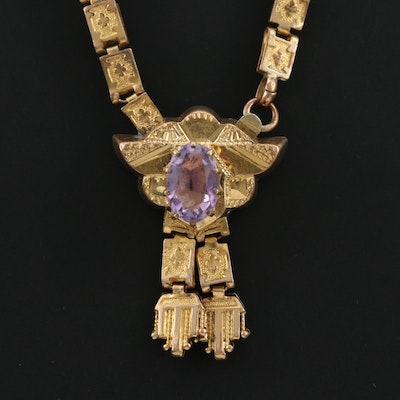 Victorian Amethyst Book Chain Necklace