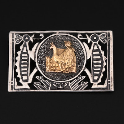 Peruvian Sterling Silver and 18K Yellow Gold Brooch