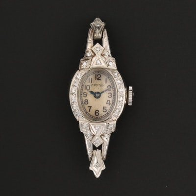 Vintage Croton 14K White Gold and Diamonds Stem Wind Watch