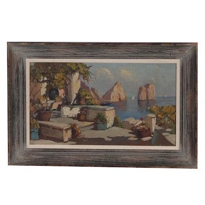 Mediterranean Coastline Oil Painting, Mid 20th Century