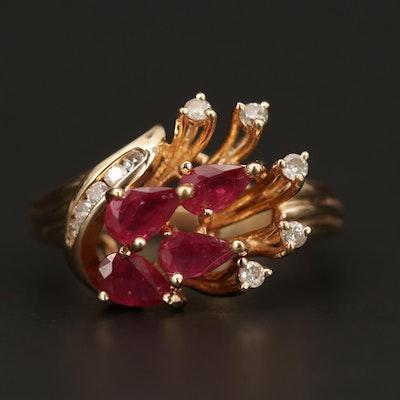 14K Yellow Gold Ruby and Diamond Asymmetrical Ring