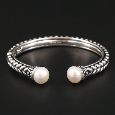 Honora Sterling Silver and Cultured Pearl Hinged Cuff Bracelet