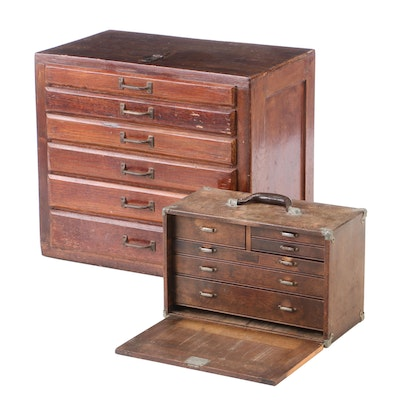 Antique Oak Machinists Chests, Early 20th Century
