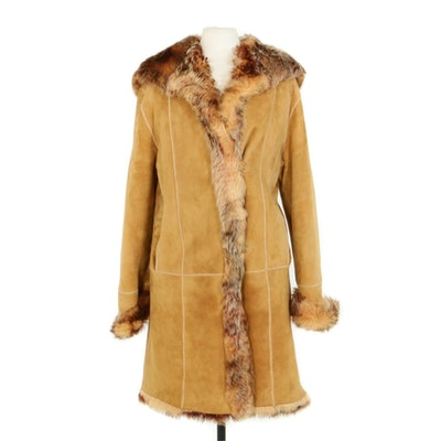 Marco Gianotti Tuscan Shearling Fur Lined Suede Hooded Coat