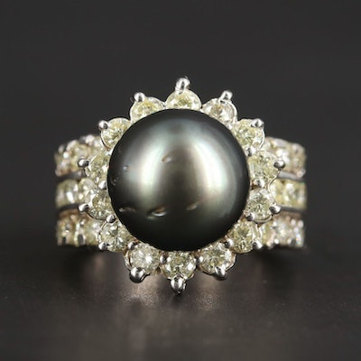 14K White Gold Cultured Pearl and 2.27 CTW Diamond Ring