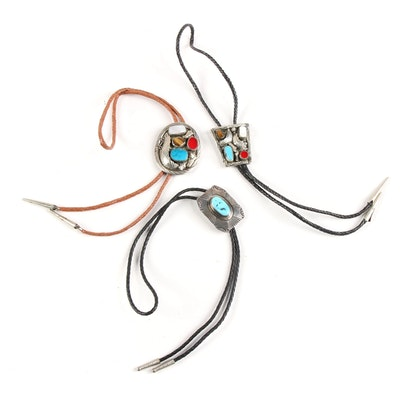 Bolo Ties with Gemstone Embellished Sterling Silver and Silver Tone Slides