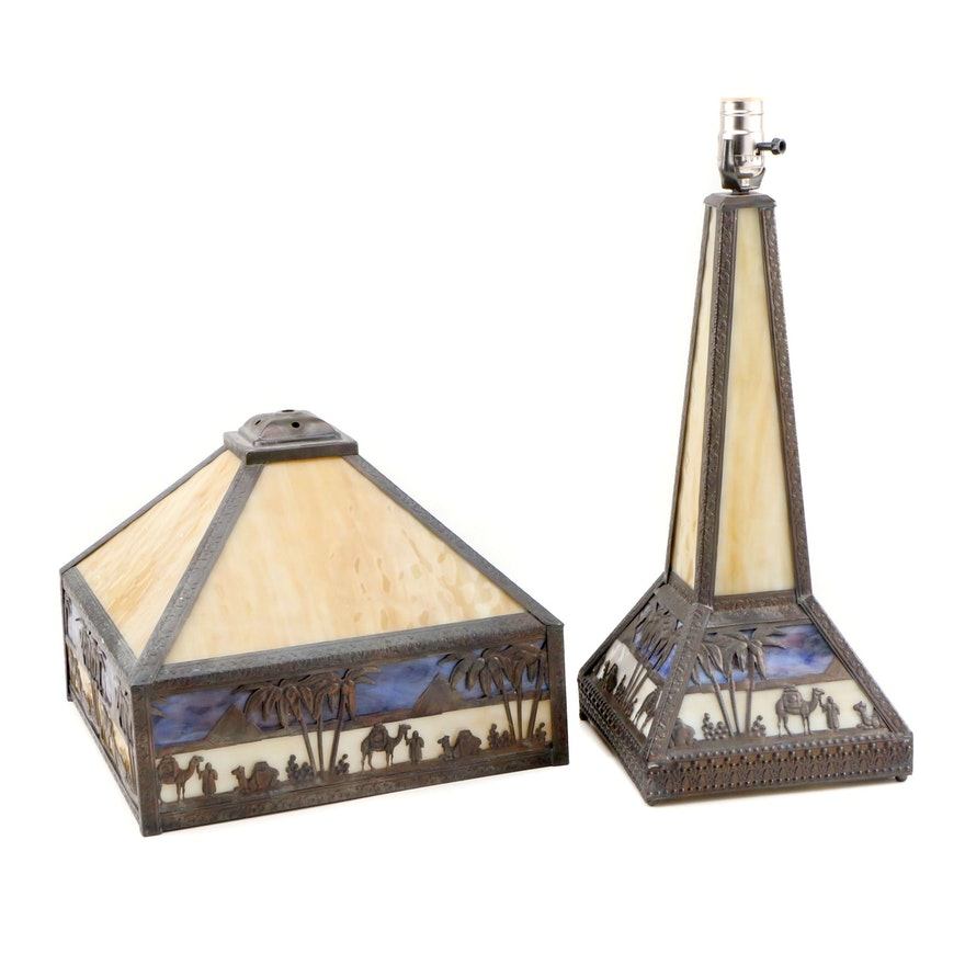 "Meyda Tiffany Mission Style ""Camel"" Slag Glass and Brass Table Lamp"
