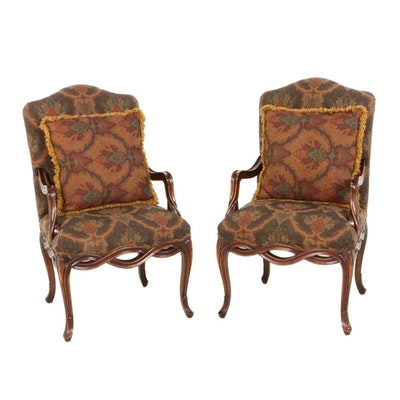 Pair of French Provincial Style Walnut Stained Open Armchairs, Late 20th Century