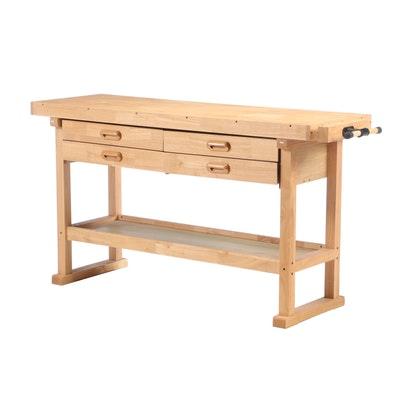 Windsor Design Pine Work Bench with Drawers and Storage Shelf