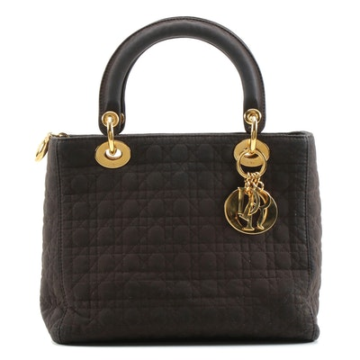 Christian Dior Paris Lady Dior Handbag in Dark Brown Quilted Microfiber