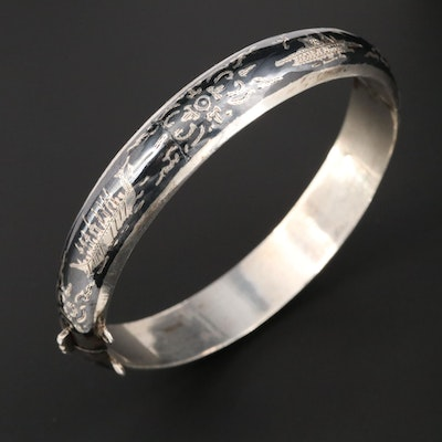 Vintage Sterling Silver Niello Hinged Bangle Bracelet