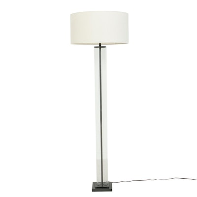 "Restoration Hardware ""French Column"" Glass and Metal Floor Lamp, Contemporary"