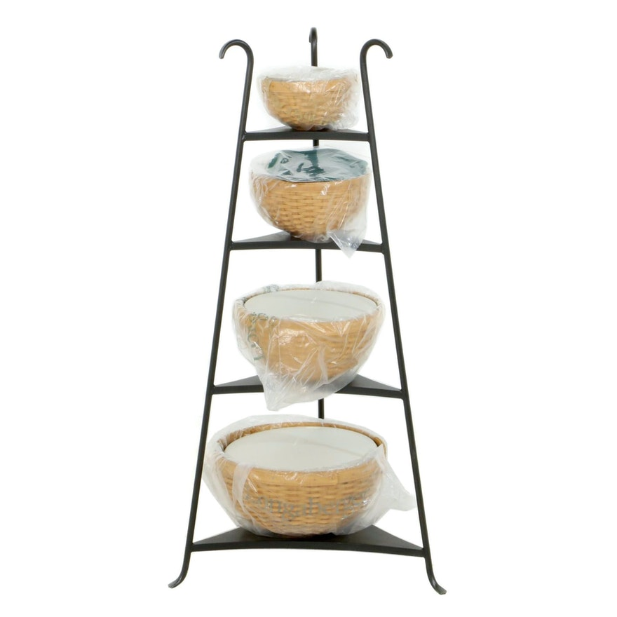 "Longaberger Tiered Corner Rack with ""Hostess"" Basket and Bowl Set"