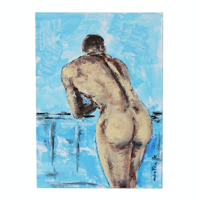 "Martin M. Acrylic Painting of Male Figure ""Backstage"""
