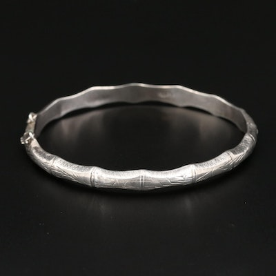 Sterling Silver Bamboo Hinged Bracelet