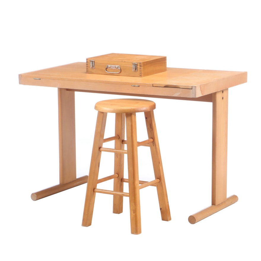Artist's Tilt-Top Work Table, Stool and Art Supplies