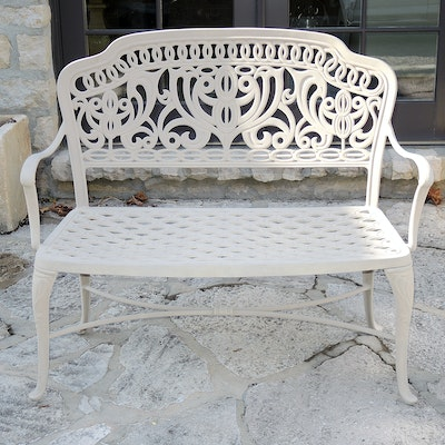 Painted Iron Patio Bench